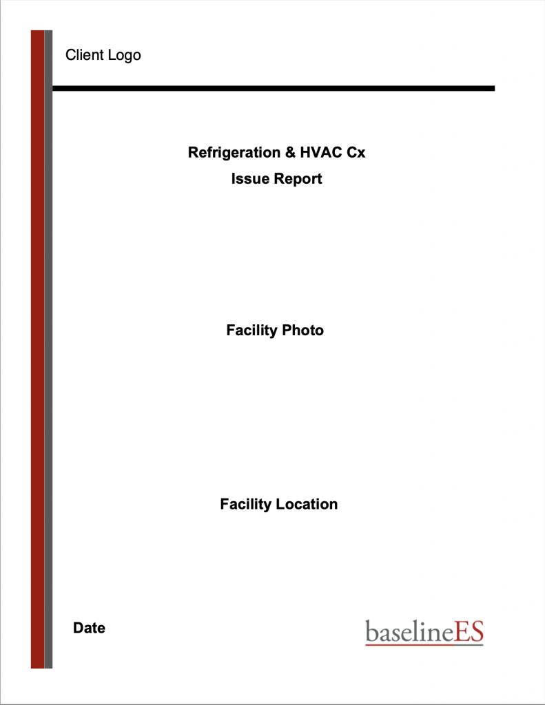 Sample Refrigeration & HVAC Cx Issue Report